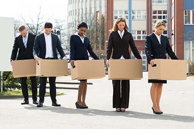 Unemployed Businesspeople With Cardboard Boxes